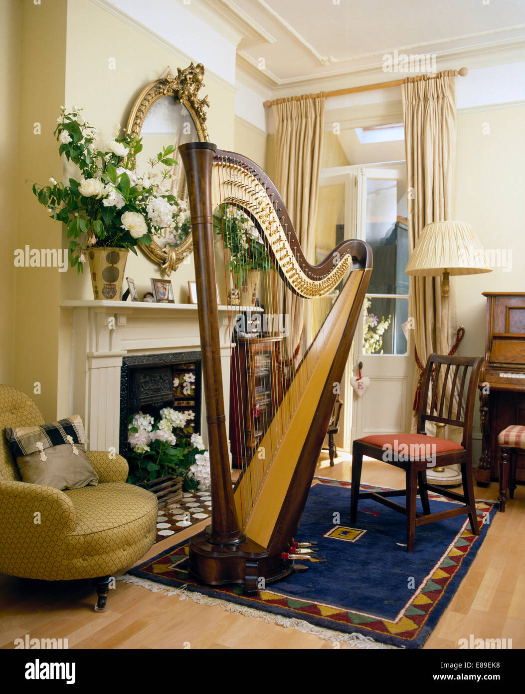 Large Harp On Blue Rug In Front Of Fireplace With Vase Of White .