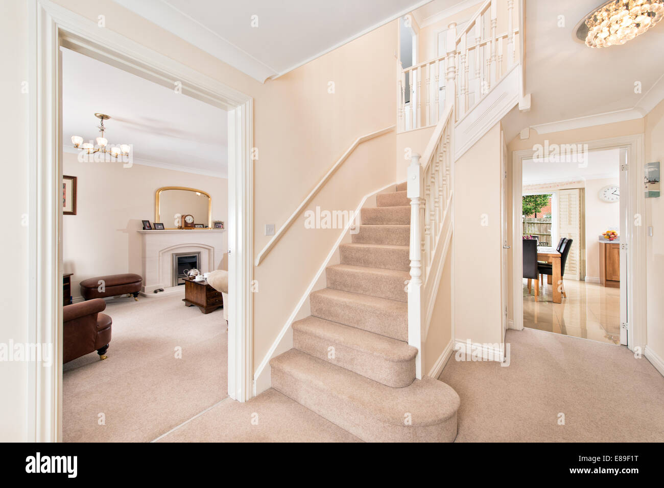 A Tidy Entrance, Hallway U0026 Stairs In A Typical Modern UK Home