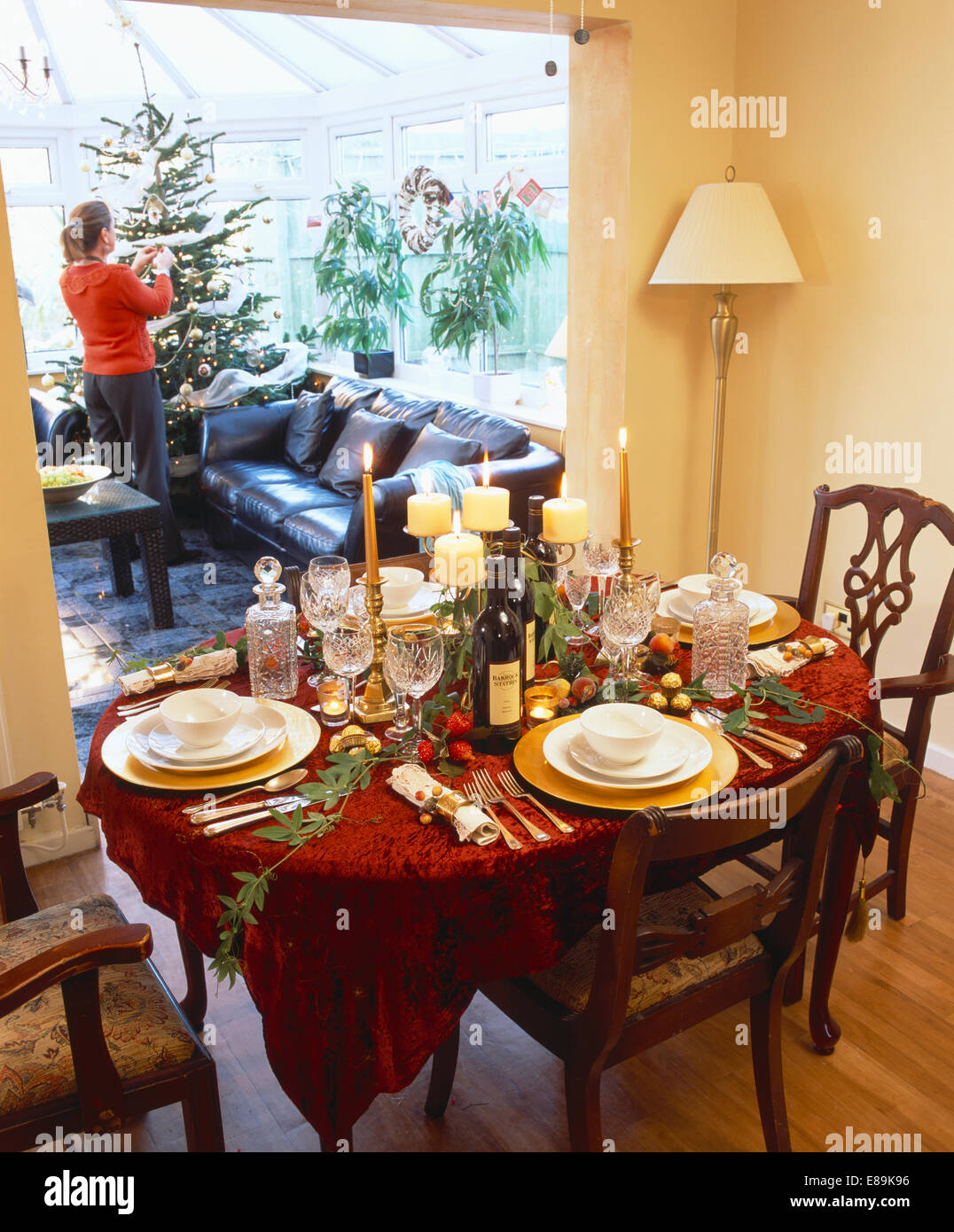 Table Decorated And Set For Christmas Dinner In