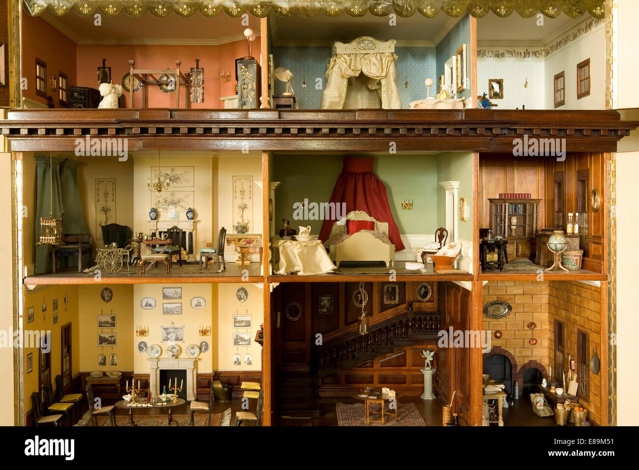 dolls house interior. Close up of the interior a Victorian dolls  house Stock Photo