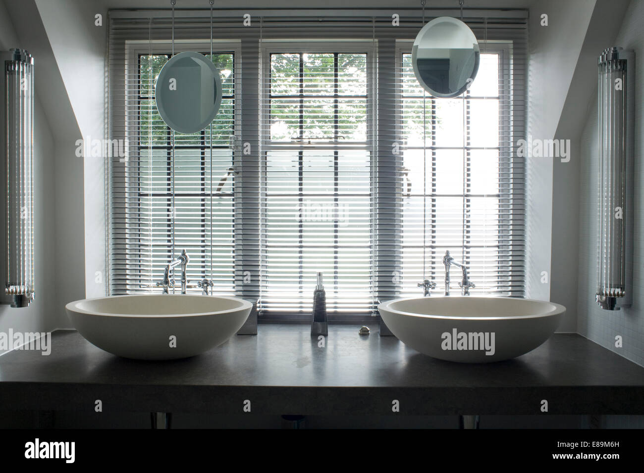 Designer Bathroom Blinds venetian blinds on window above double bowl washbasin on shelf