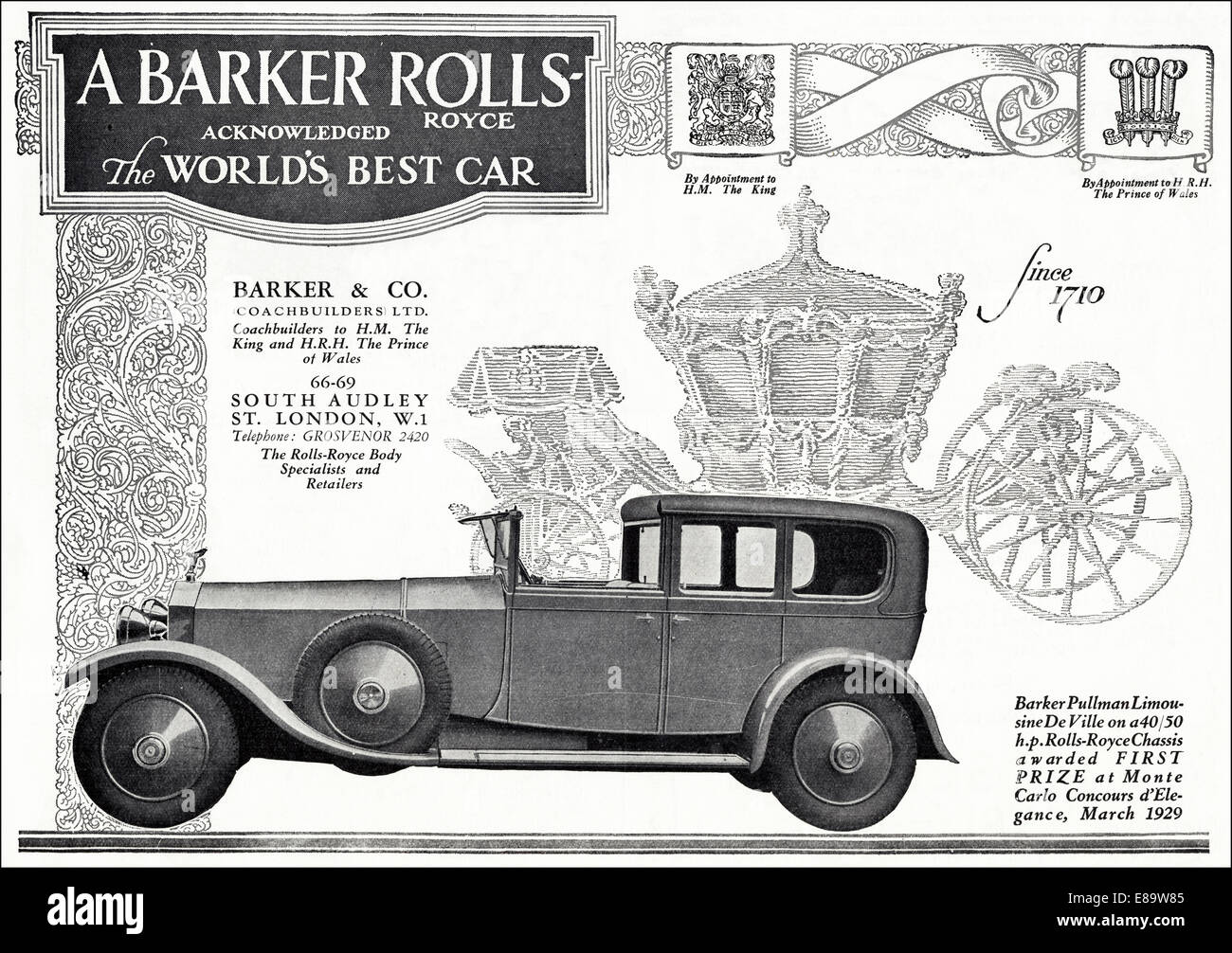 1920 39 S Advertisement For Rolls Royce Luxury Motor Car Coachbuilt By Stock Photo Royalty Free