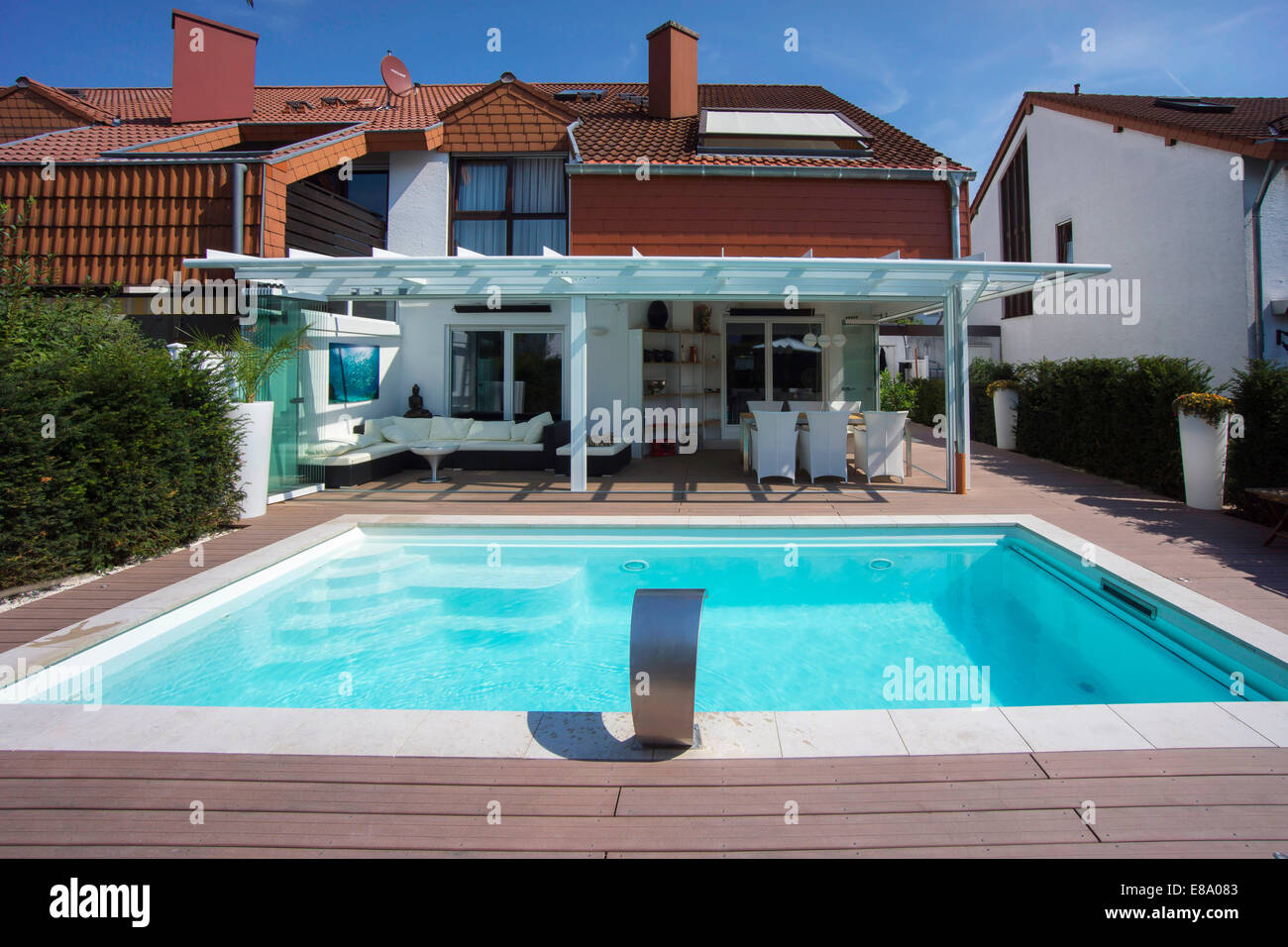 private terraced house with a conservatory a pool and a terrace stock photo 73978467 alamy. Black Bedroom Furniture Sets. Home Design Ideas
