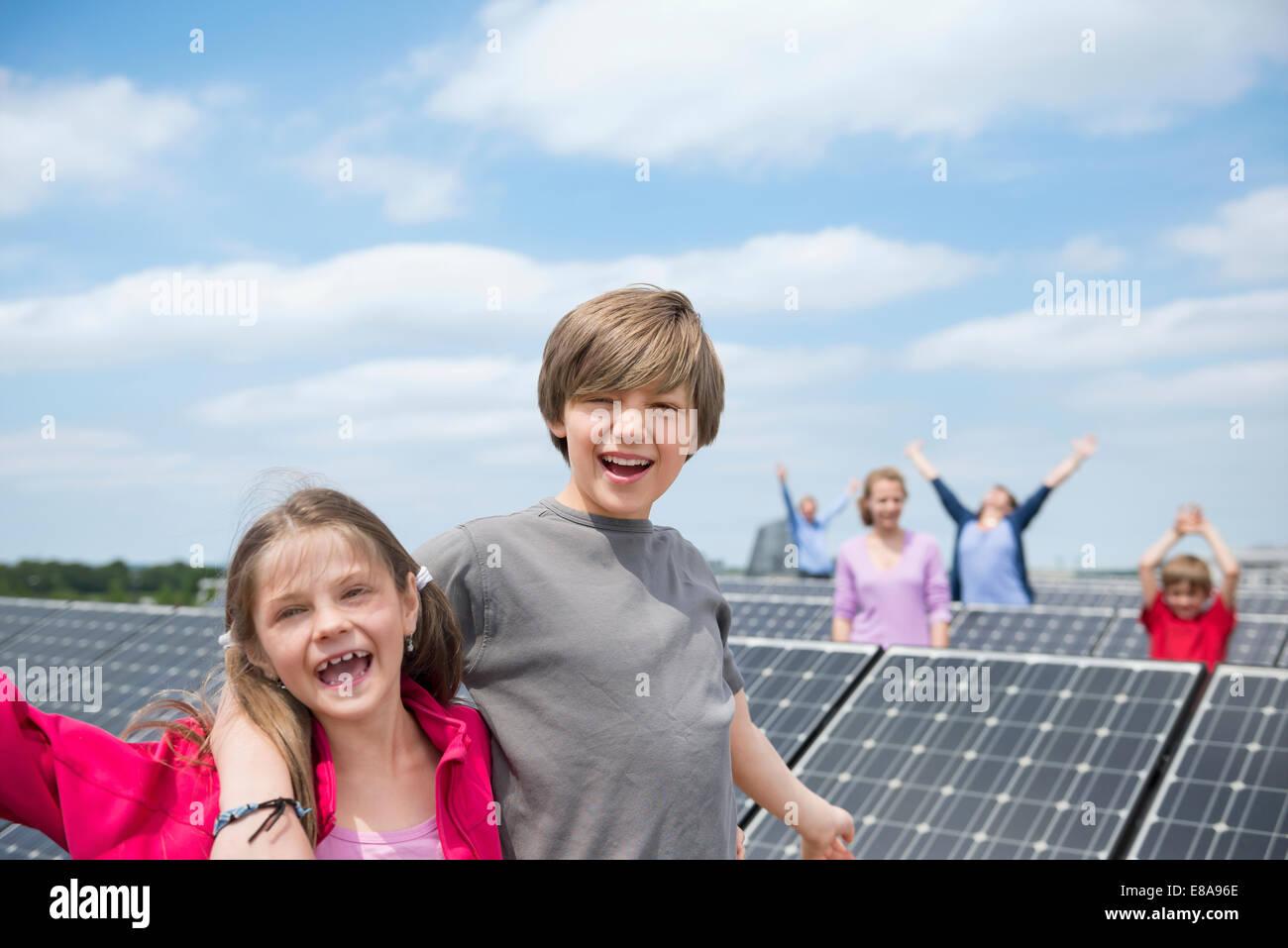 beautiful solar panel kids #9: Family kids photo-voltaic park solar panel happy