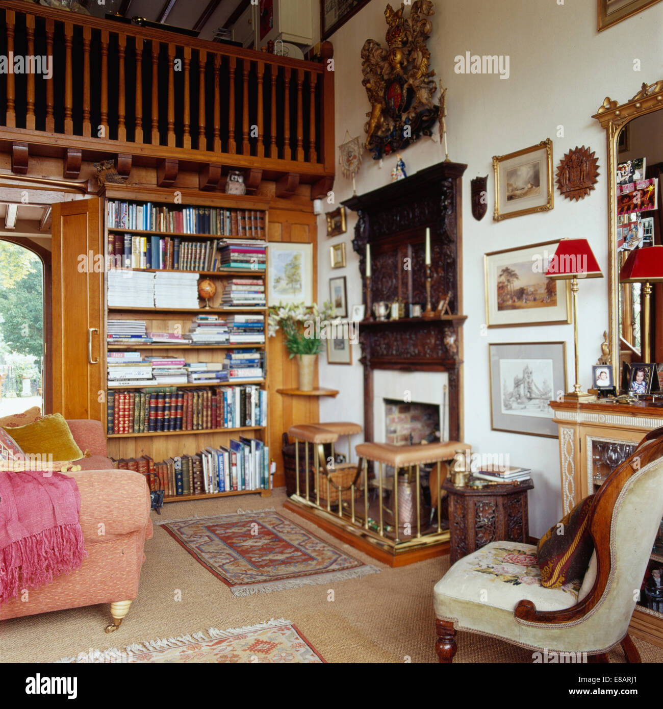 Traditional Study Room: Traditional Country Study Living Room With Mezzanine And