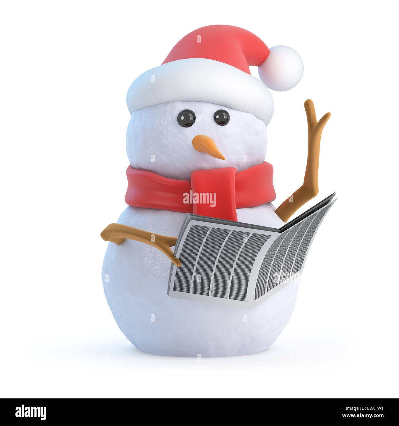 Worksheet Snowman Reading 3d render of a snowman wearing santa claus hat and reading newspaper