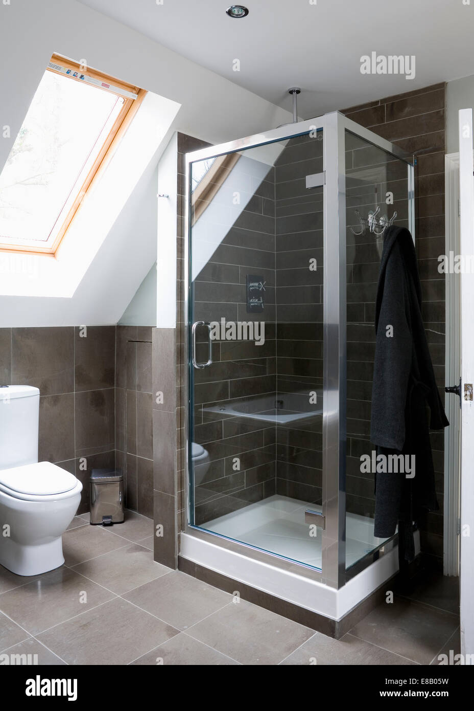 modern loft conversion shower room stock photo, royalty free image