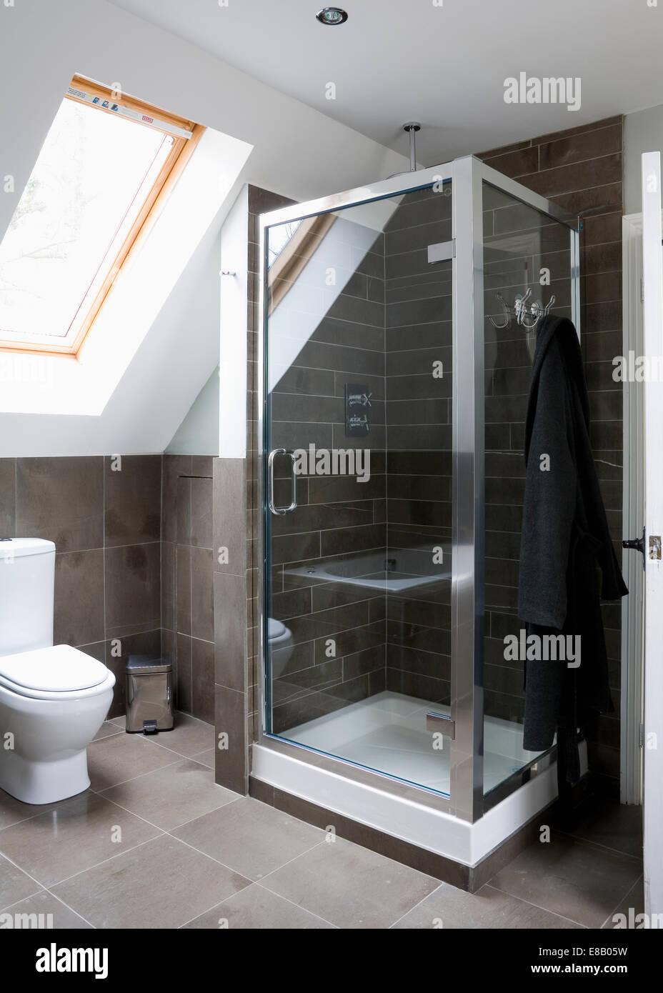 Modern Loft modern loft conversion shower room stock photo, royalty free image