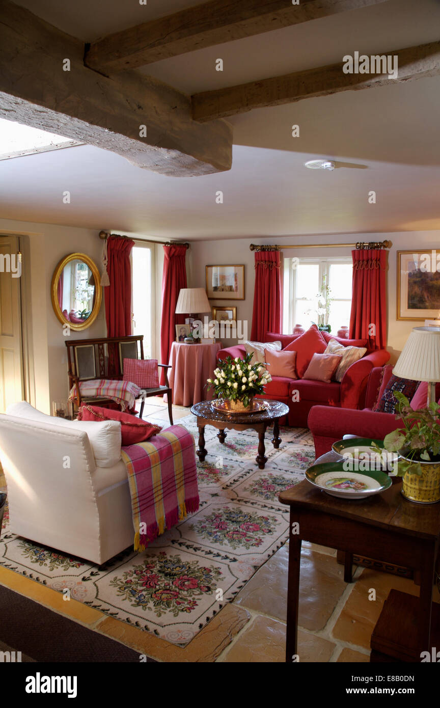 Beautiful Red Checked Throw On Cream Armchair In Cosy Cottage Living Room With Floral  Carpet On Stone Tiled Floor Part 21