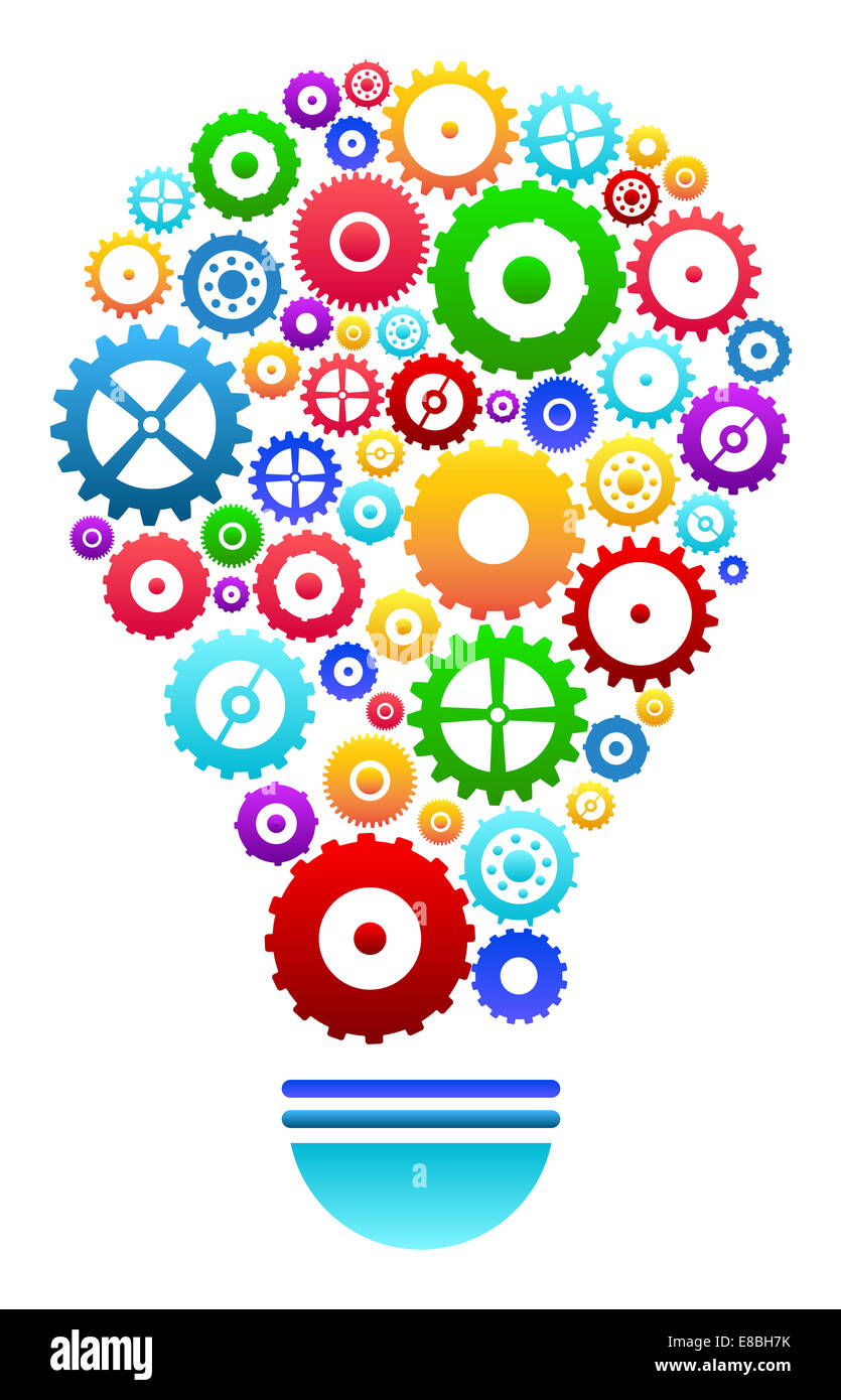 Idea light bulb with gears and cog wheels concept stock for New idea images