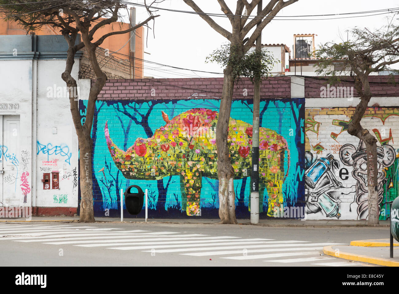 Graffiti wall painting - Colourful Graffiti Wall Painting Of A Rhinoceros In A Street In Barranco Lima Peru