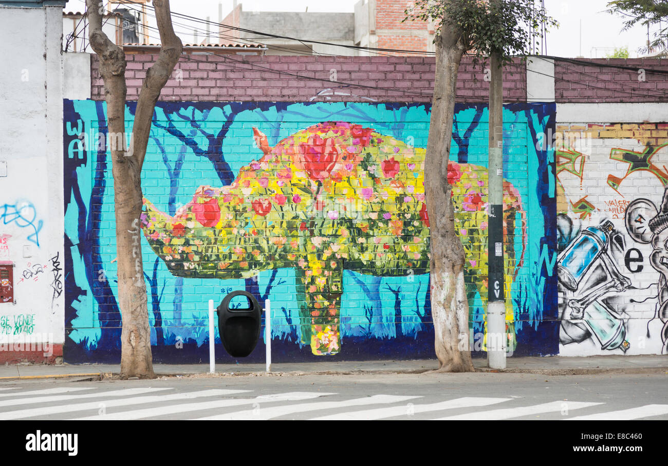 Street wall painting - Colourful Graffiti Wall Painting Of A Rhinoceros In A Street In Barranco Lima Peru