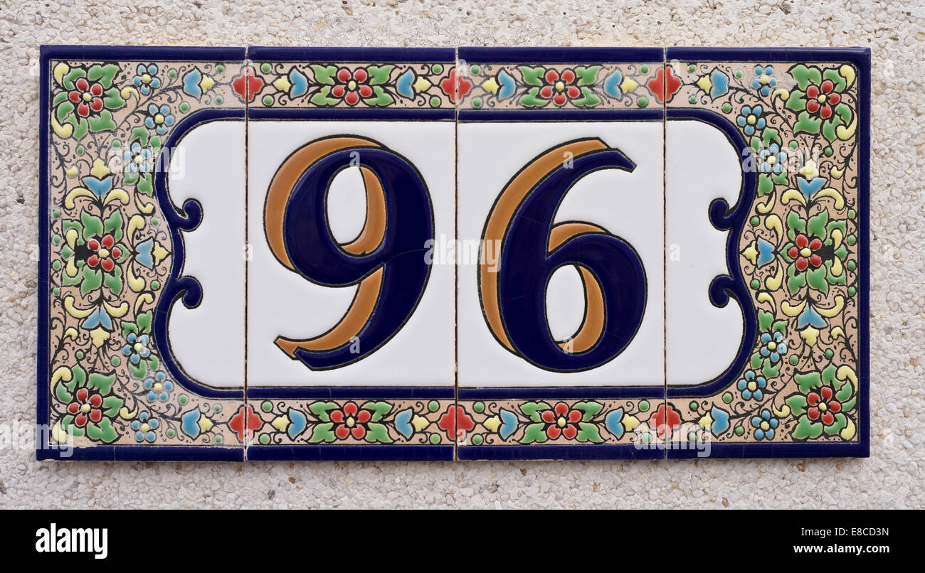 House number spanish style made up from ceramic tiles stock photo house number spanish style made up from ceramic tiles dailygadgetfo Images