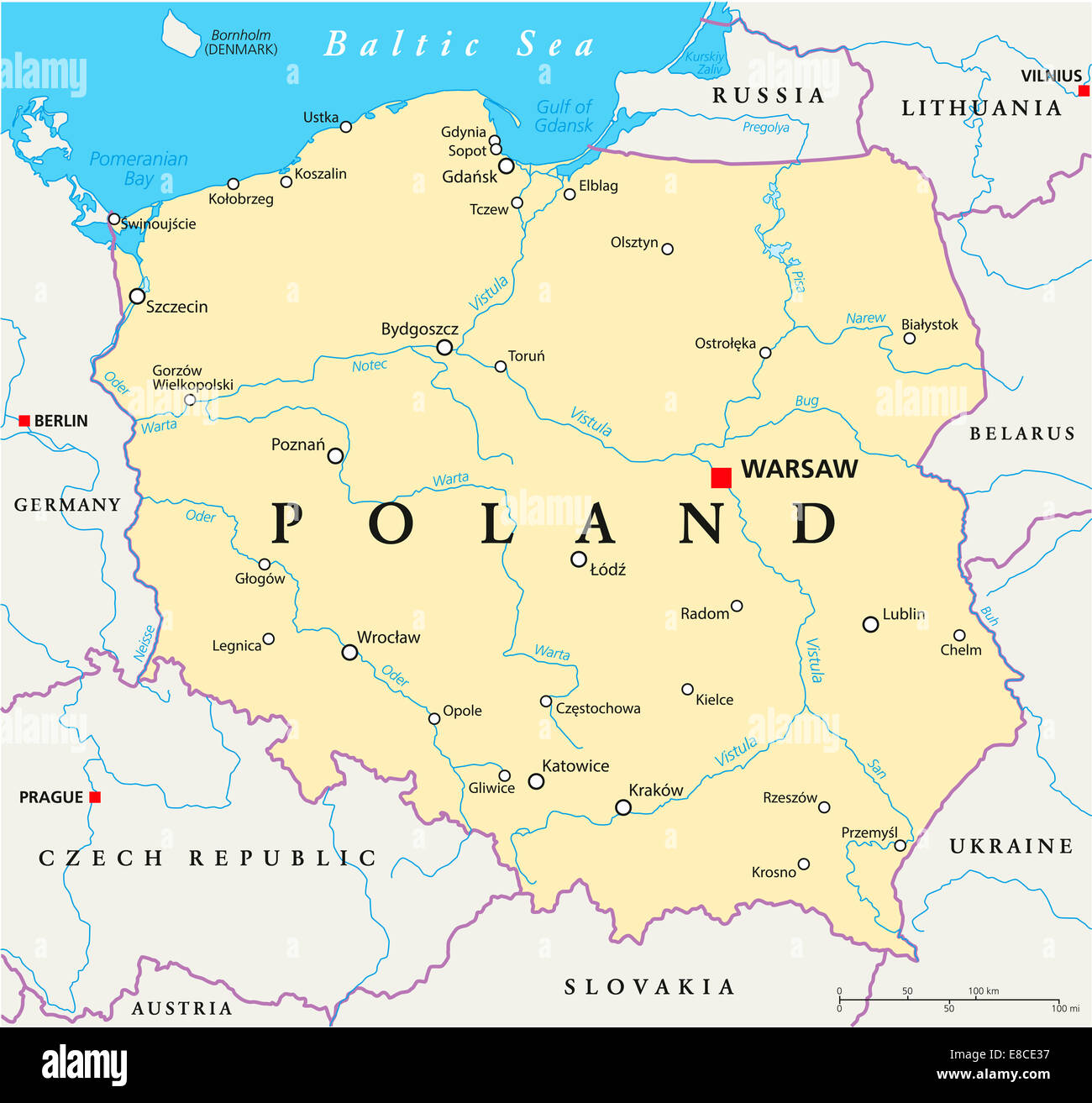 Poland Political Map With Capital Warsaw National Borders Most Important Cities Rivers And Lakes English Labeling Scaling