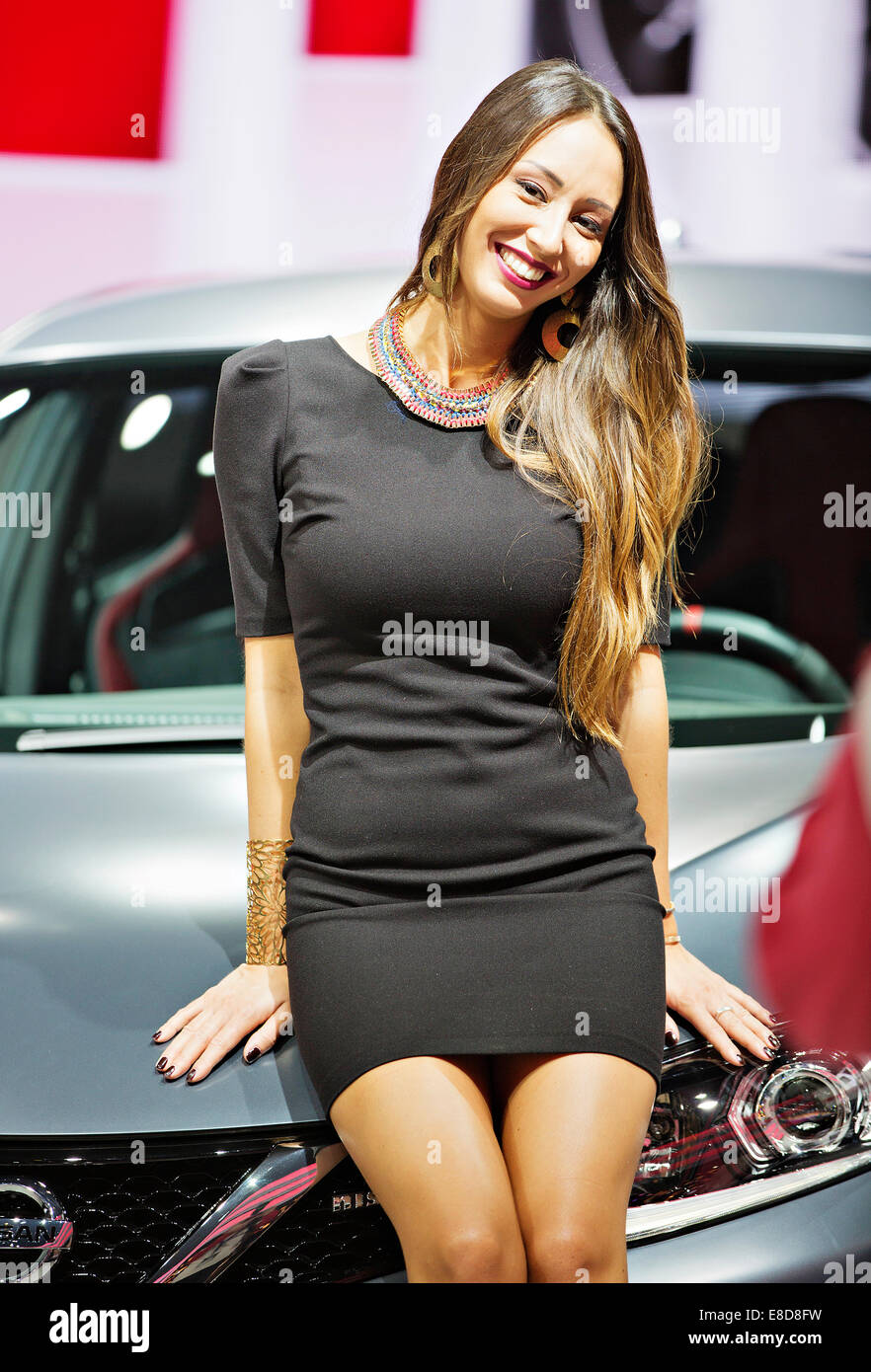 model poses with concept car nissan pulsar nismo concept was stock photo  royalty free image
