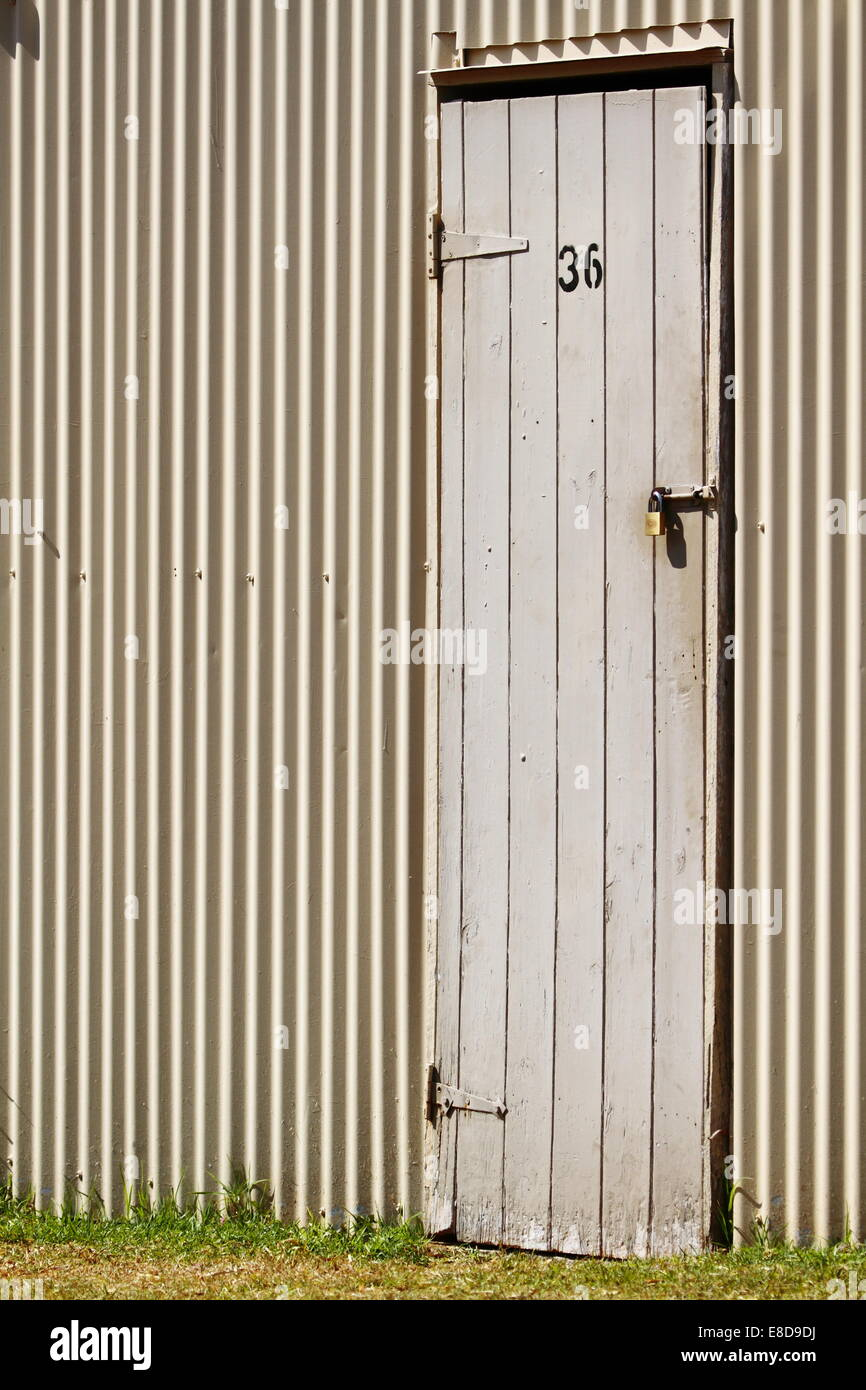 Patterns and lines of a wooden-slat door on a metal shed & Patterns and lines of a wooden-slat door on a metal shed Stock ... pezcame.com
