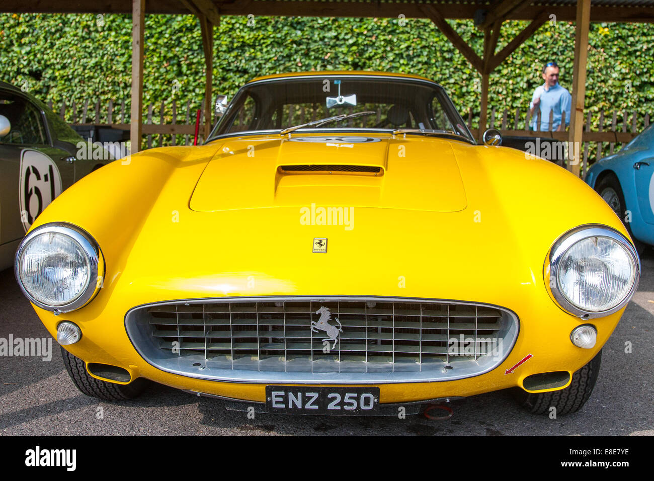 classic vintage yellow 1960 ferrari 250 gt swbc racing car at the goodwood revival 2014 west sussex uk - Ferrari 2014 Yellow