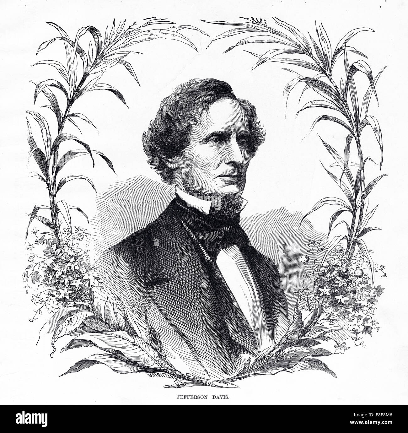 "Leaders Notable People: Engraving Of President Jefferson Davis From ""Famous"