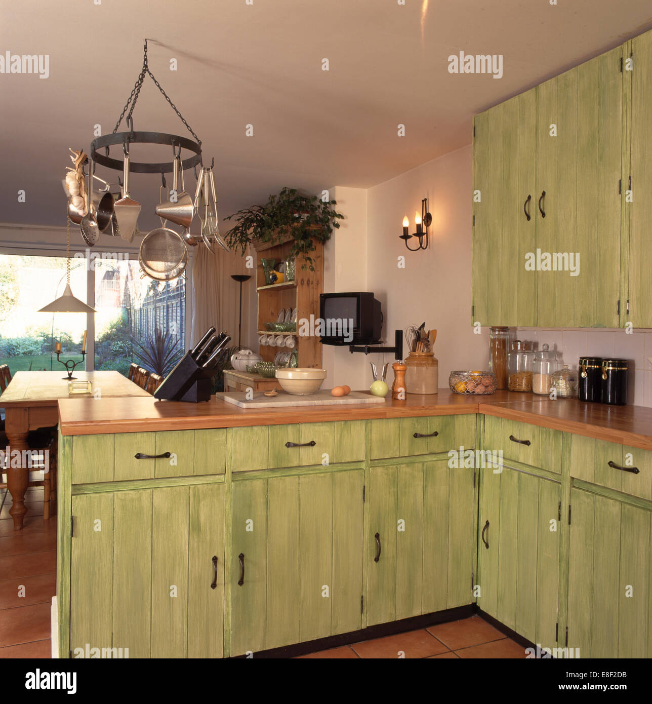 Kitchen Ceiling Hanging Rack Pastel Green Fitted Cupboards With Dragging Paint Effect In