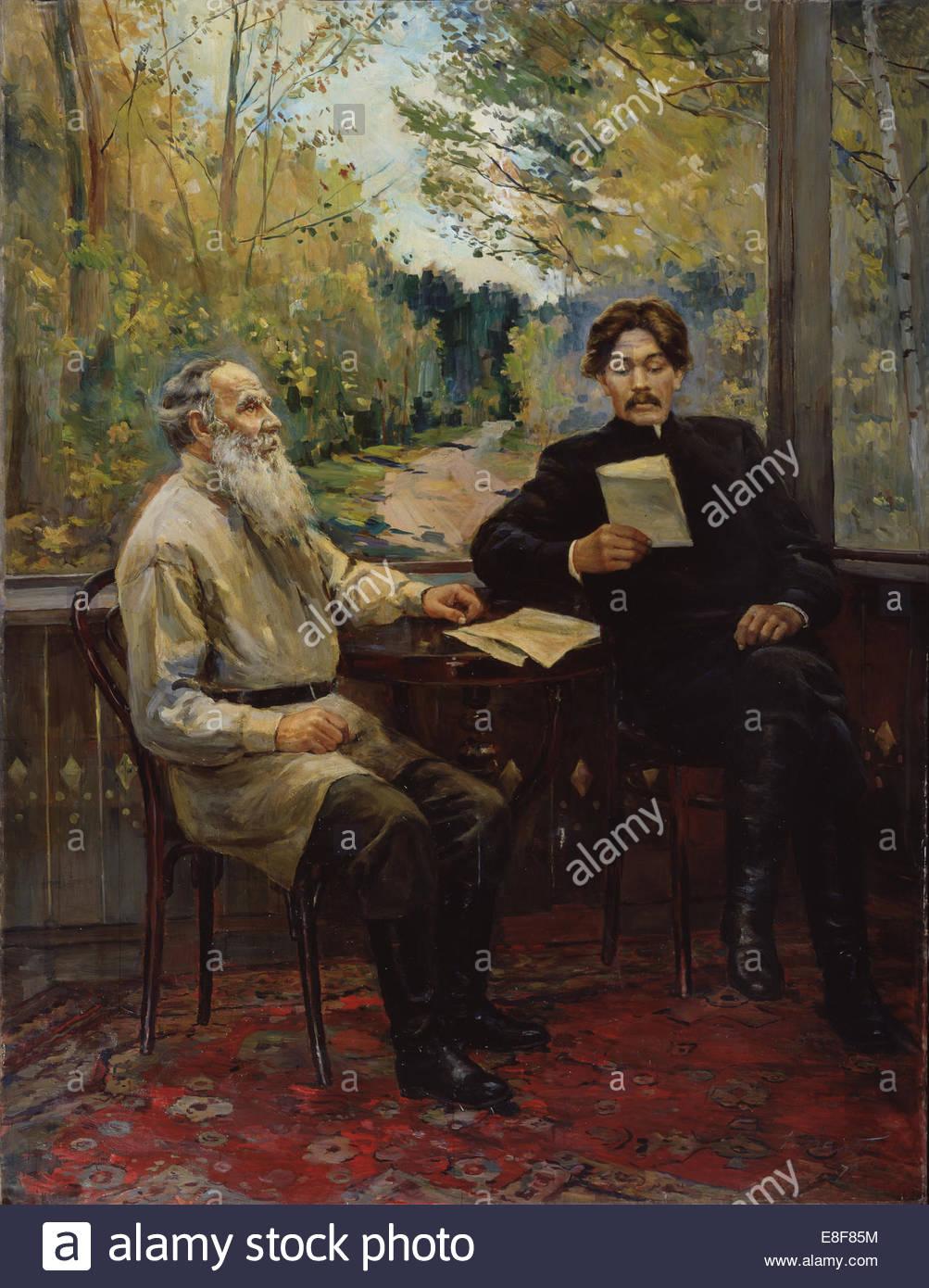 Maxim gorky visiting leo tolstoy in yasnaya polyana on 1900 artist nalbandian dmitri