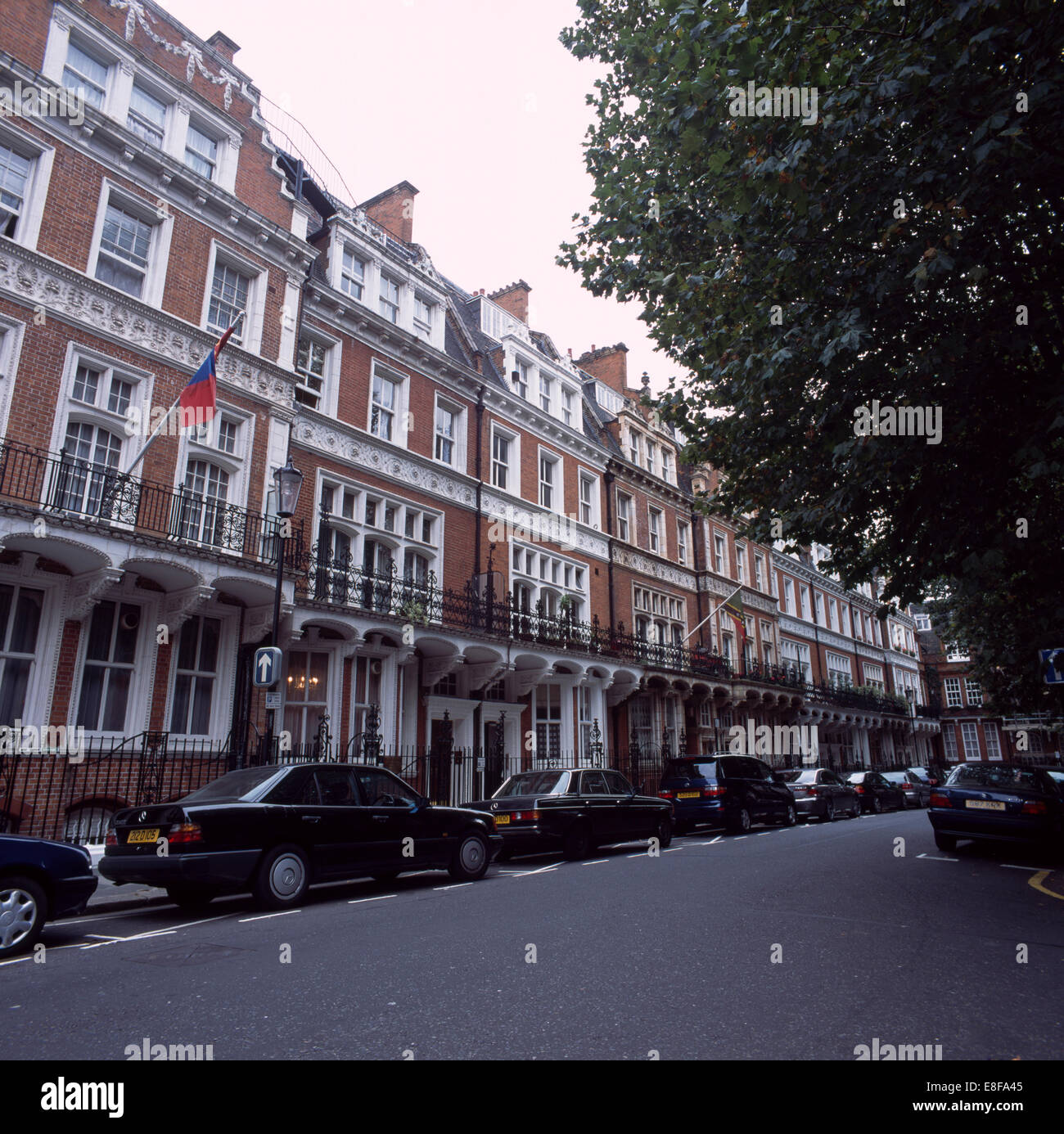traditional edwardian terraced houses and apartment buildings in a