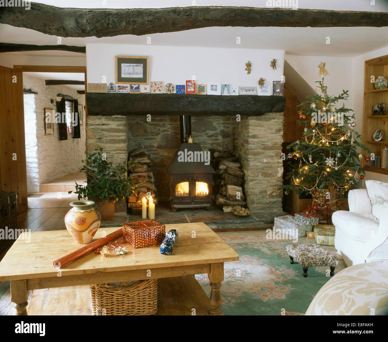 Wood Stove Living Room Pine