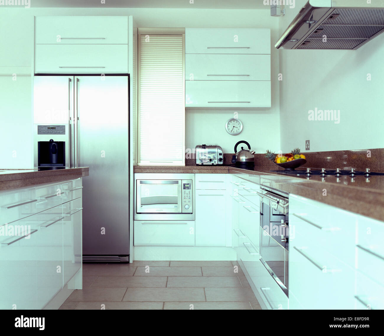 Modern Kitchen Microwave: Modern White Kitchen With Microwave Oven In Fitted Unit