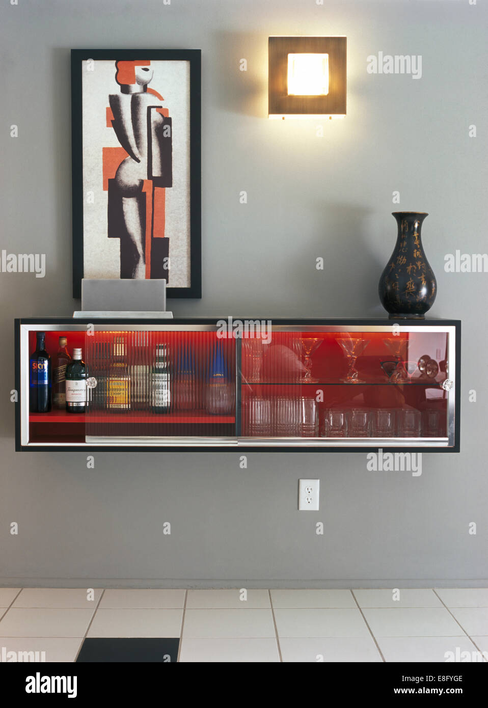 picture above wall mounted drinks 39 cabinet in modern gray dining room