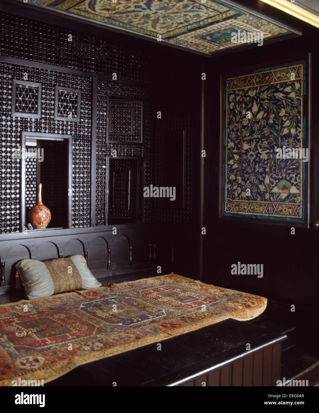Moroccan Style Bedroom Old Oriental Rug On Bed In Moroccan Style Bedroom Stock Photo