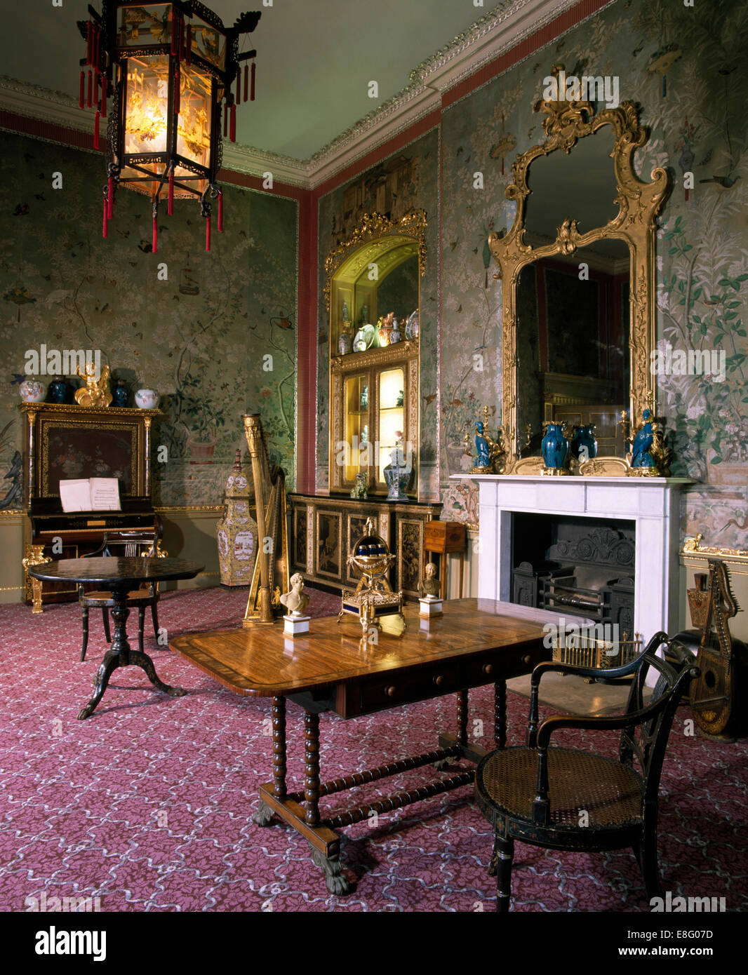 Antique Furniture And Lantern In Old Fashioned Stately