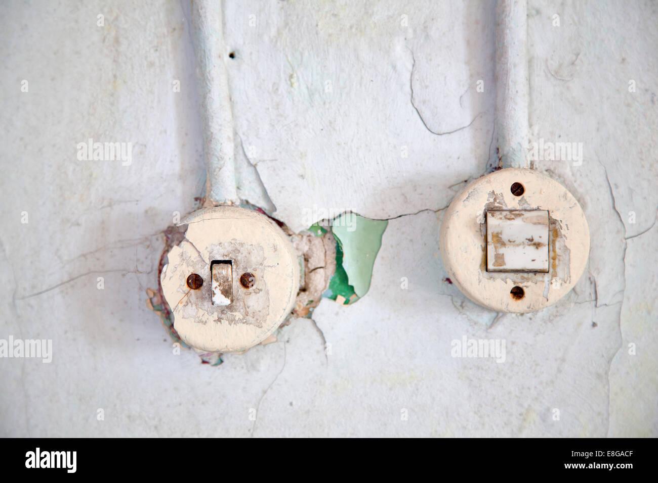 Zwei Lichtschalter in einer Ruine Stock Photo, Royalty Free Image ...