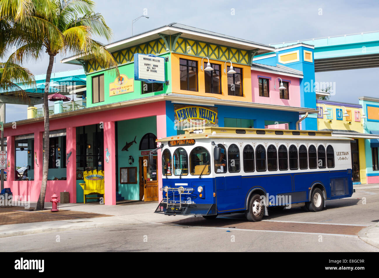 Fort Myers Florida Ft Beach Leetran Lee Tran Public Bus Service Coach Trolley Nervous Nellies Restaurant Outside Exterior