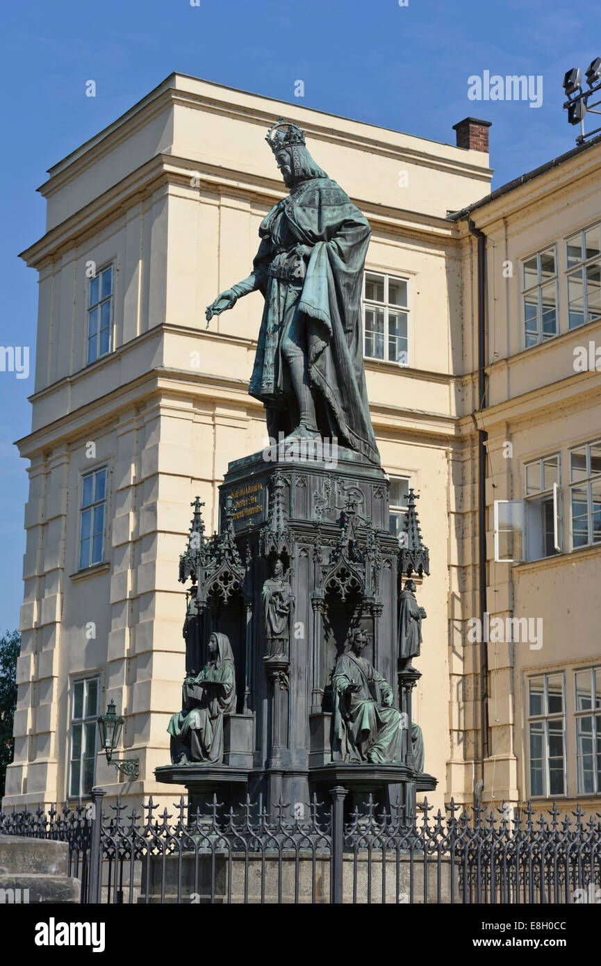 King charles iv statue near charles bridge in the city of for Where is prague near