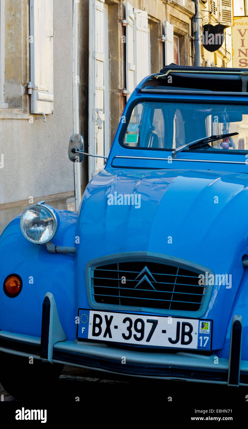 Blue Citroen 2CV car parked on a street in France nearly four ...