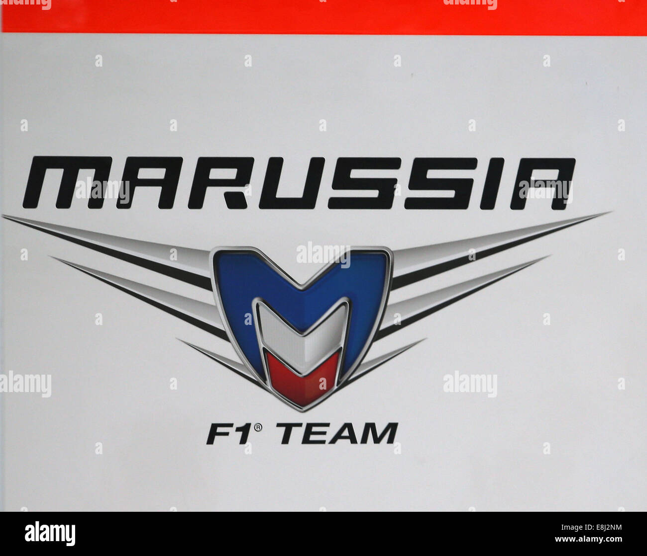 A Logo Of The Russian F1 Team Marussia. © Vitaly Timkiv/TASS/Alamy Live News