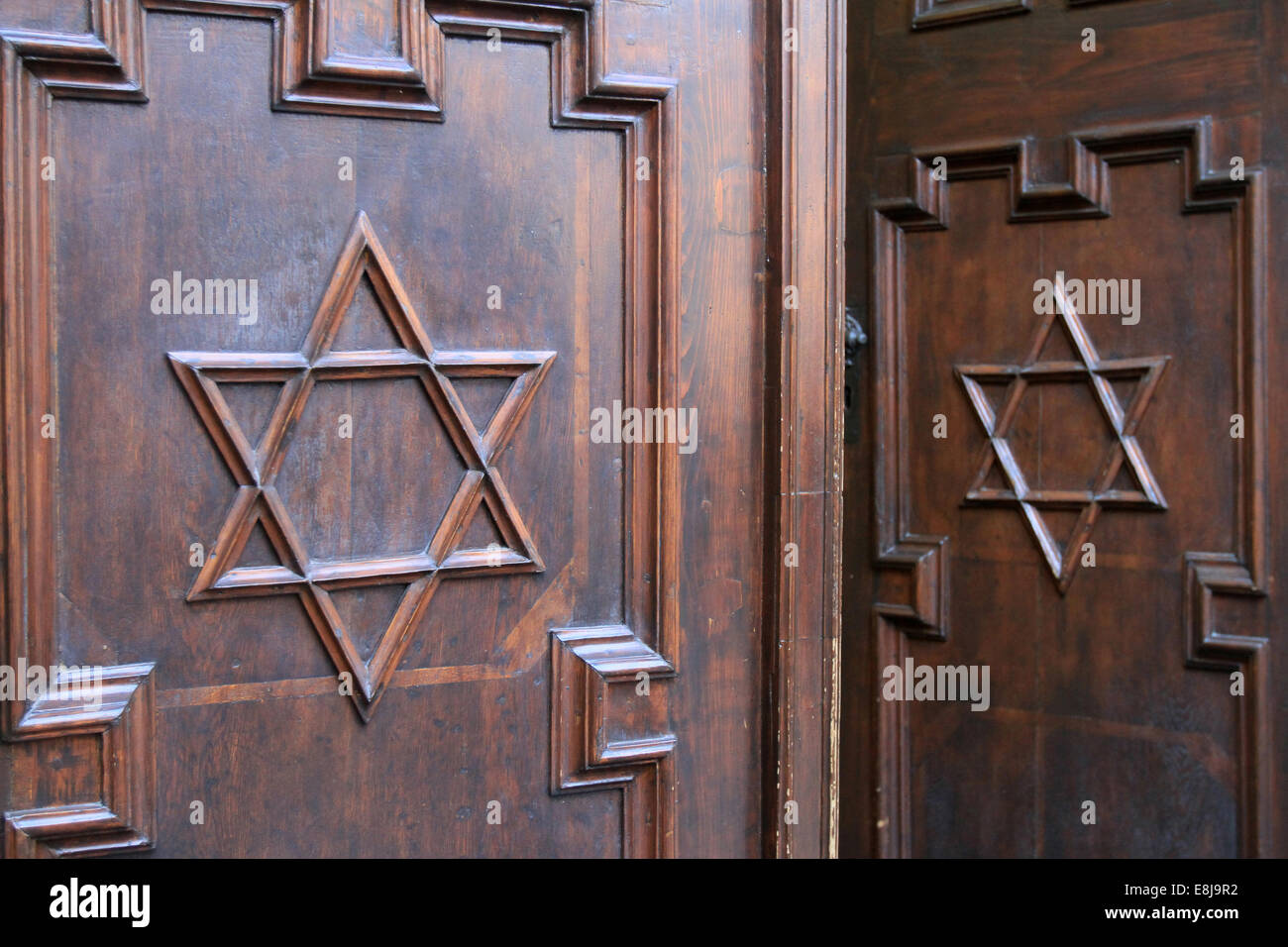 The pinkas synagogue with the jewish star symbol doors prague stock the pinkas synagogue with the jewish star symbol doors prague buycottarizona Images