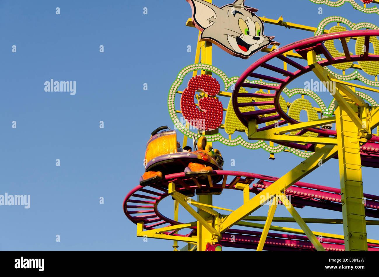 Part of an old Roller coaster car ride on annual fair. funfair ...