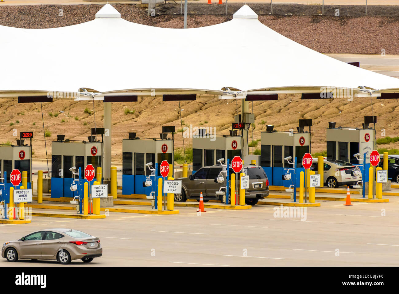 DIA DEN Denver International Airport - exit toll gates at airport parking lot & DIA DEN Denver International Airport - exit toll gates at ...