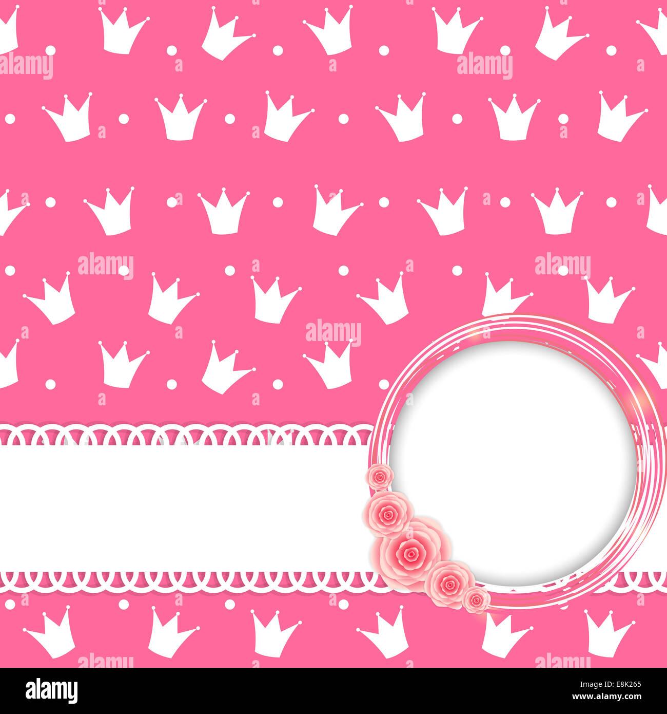 pink princess crown background vector illustration eps10