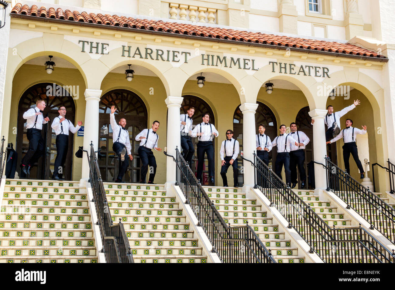 West Palm Beach Florida Cityplace City Place Shopping Mall Harriet Himmel Theater Theatre Front Entrance Groomsmen Wedding Photos Posing