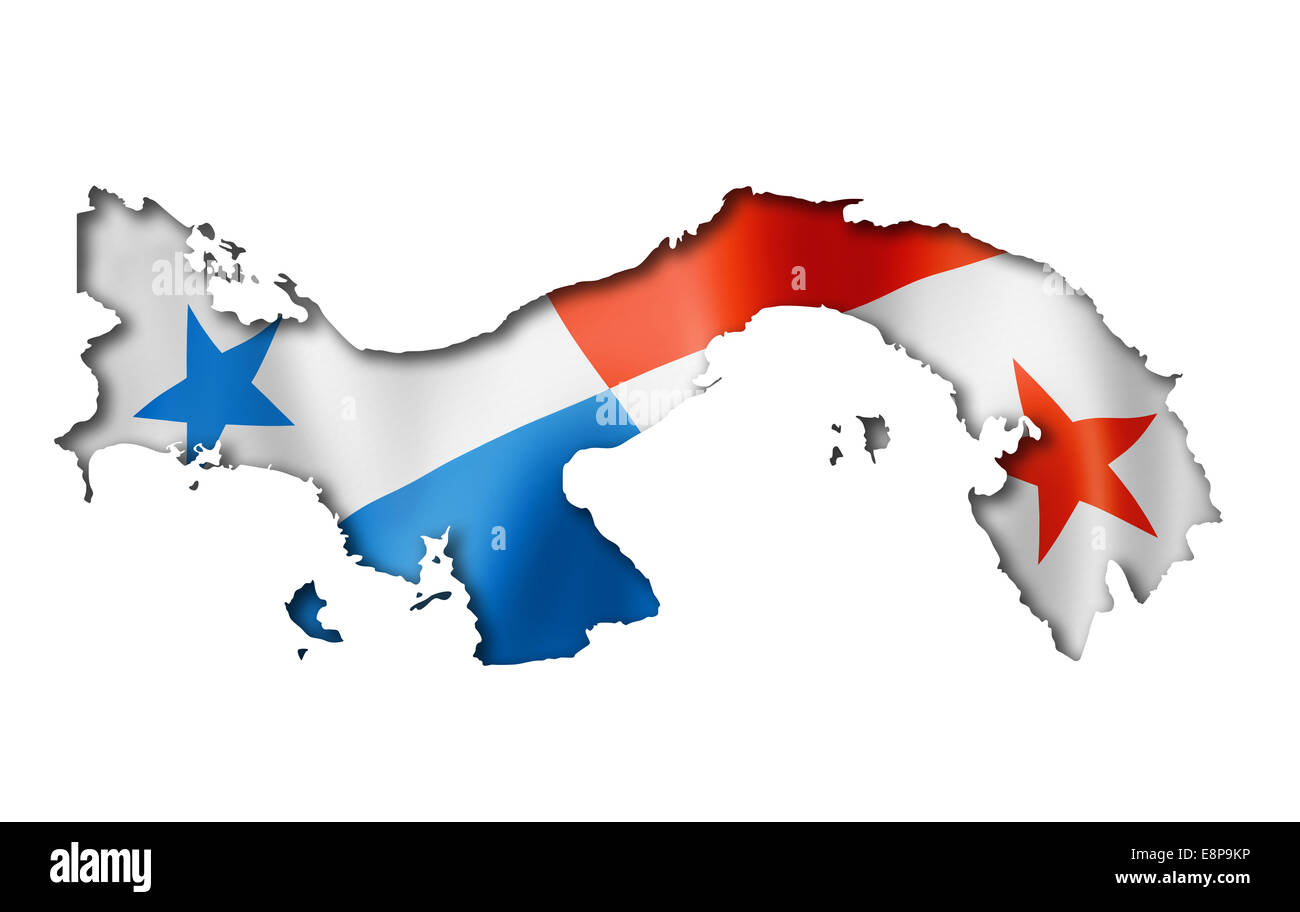 Panama Flag Map Three Dimensional Render Isolated On White Stock - Panama flag