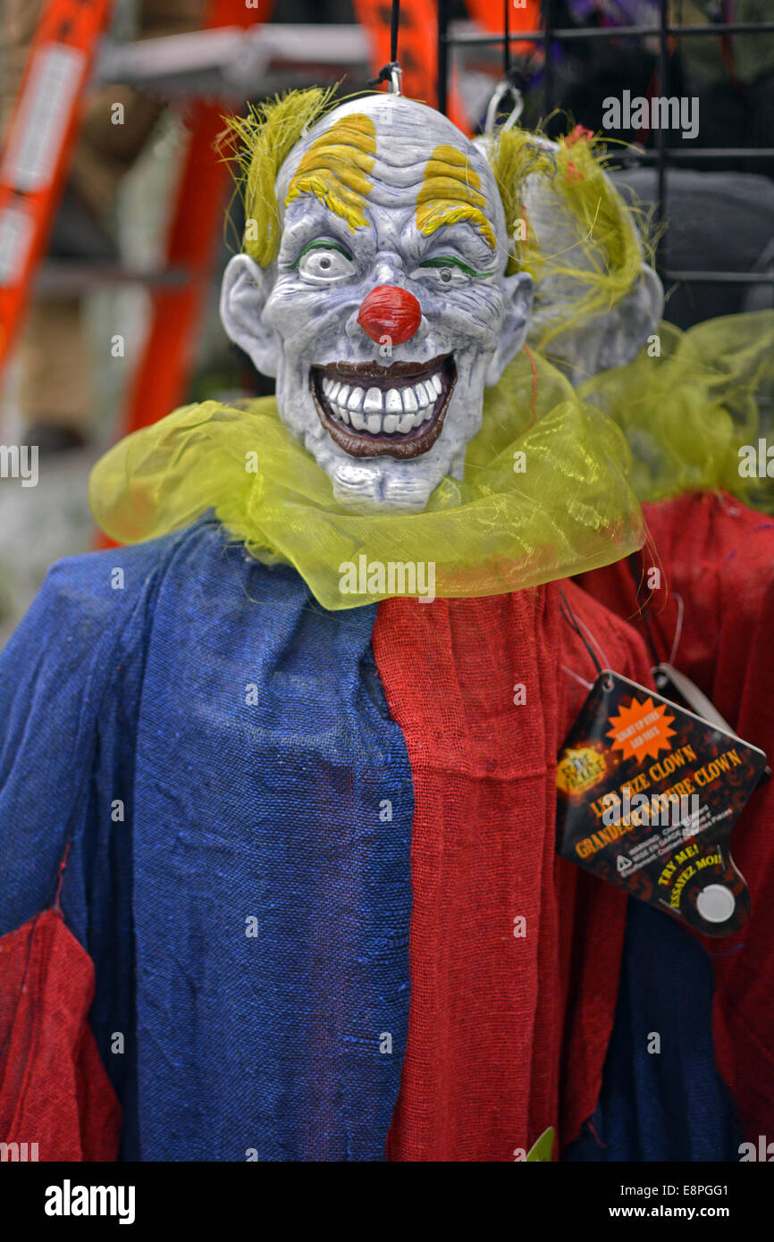 display of scary halloween decorations for sale at the party city store in greenwich village manhattan new york city