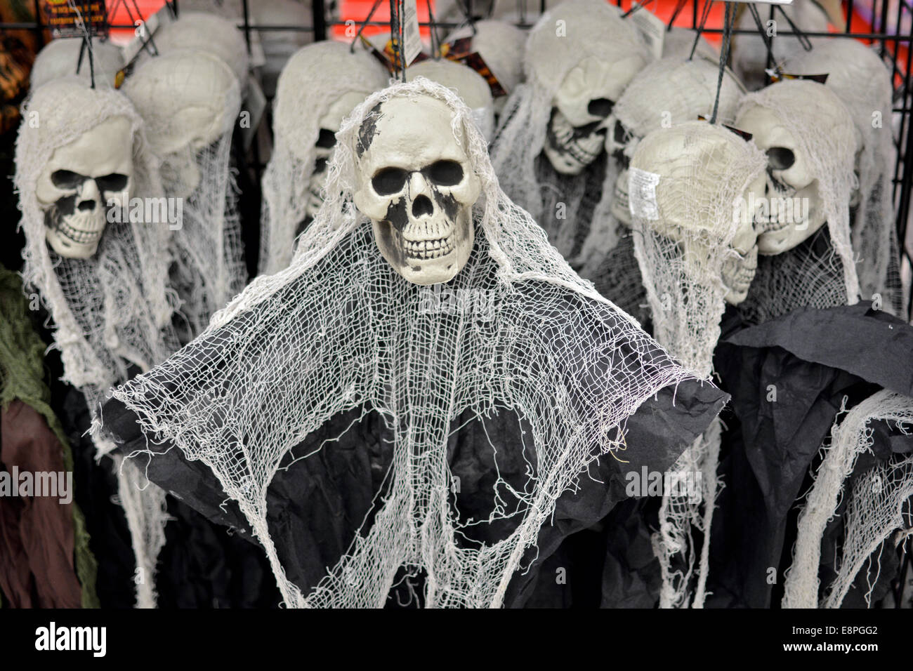 Display of Halloween decorations for sale at the Party City store ...
