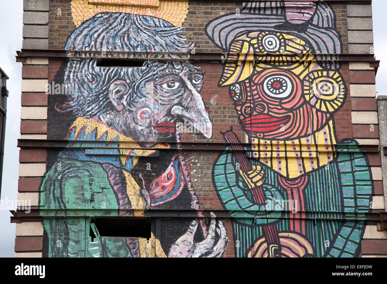 U2 graffiti wall location - Graffiti In Smithfield Square Dublin Ireland Stock Image