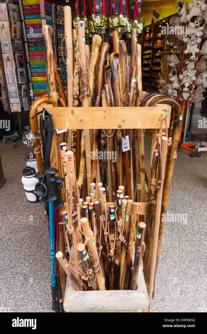 Carved Wooden Walking Sticks In A Gift Shop In Chamonix