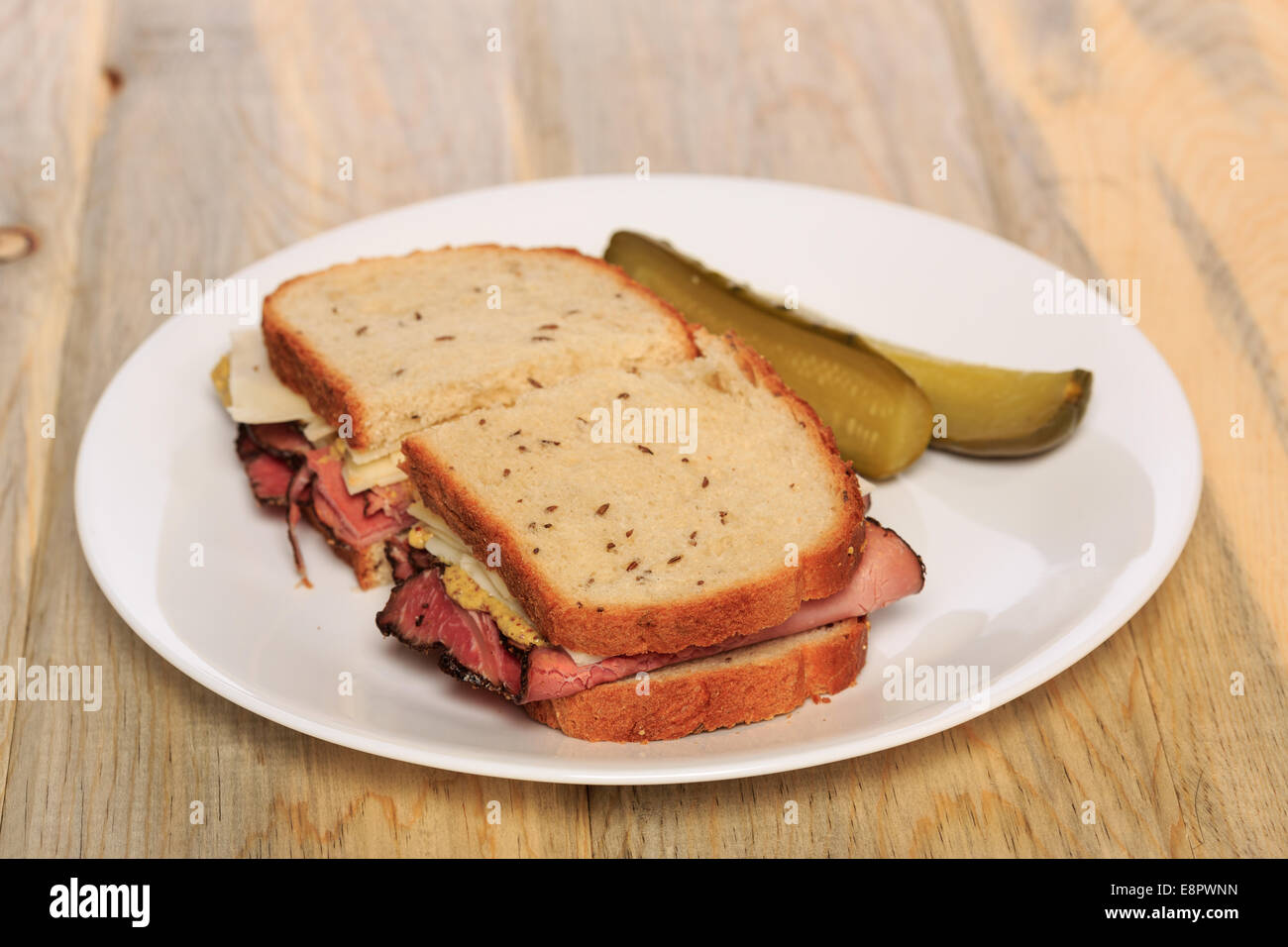 Pastrami sandwich on Jewish Rye bread with swiss cheese ...