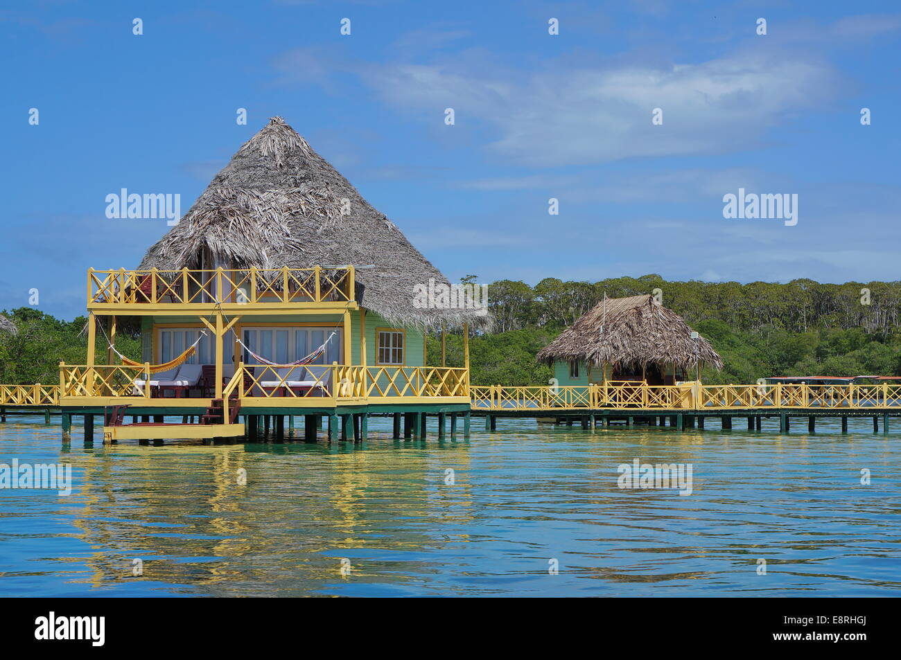 Over Water Bungalow With Thatched Roof Caribbean Sea Bocas Del Toro Central America Panama