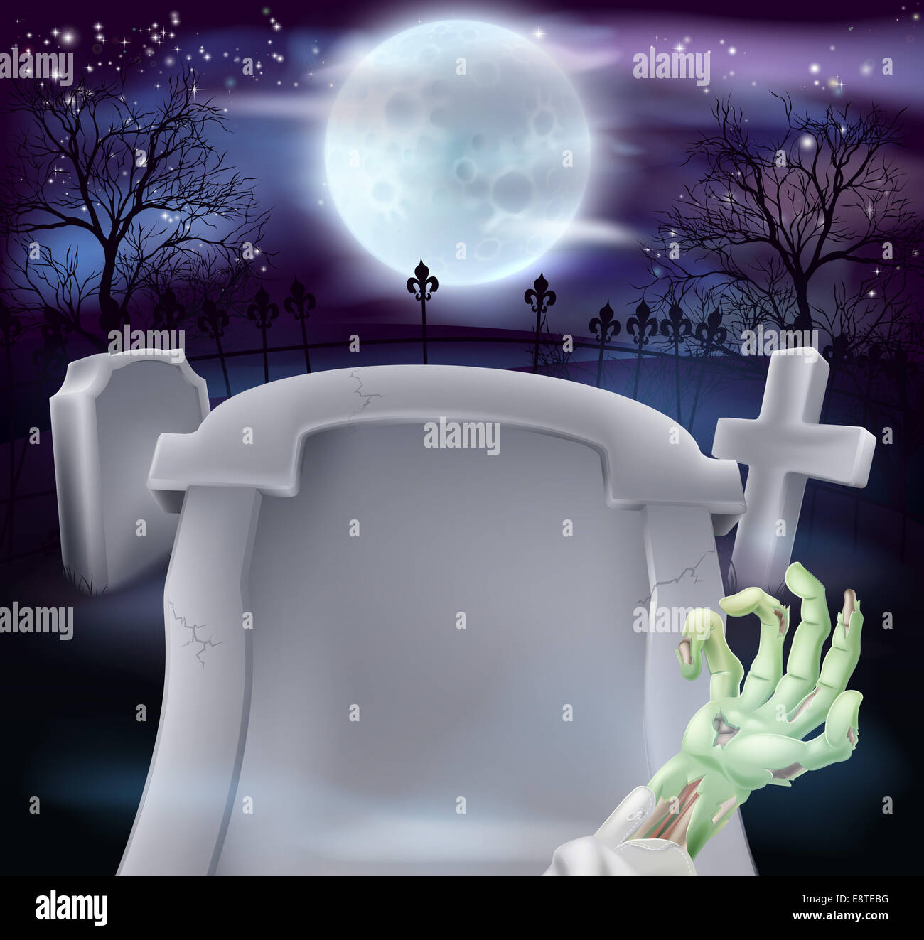 Grave Halloween background of zombie arm and a gravestone in a ...