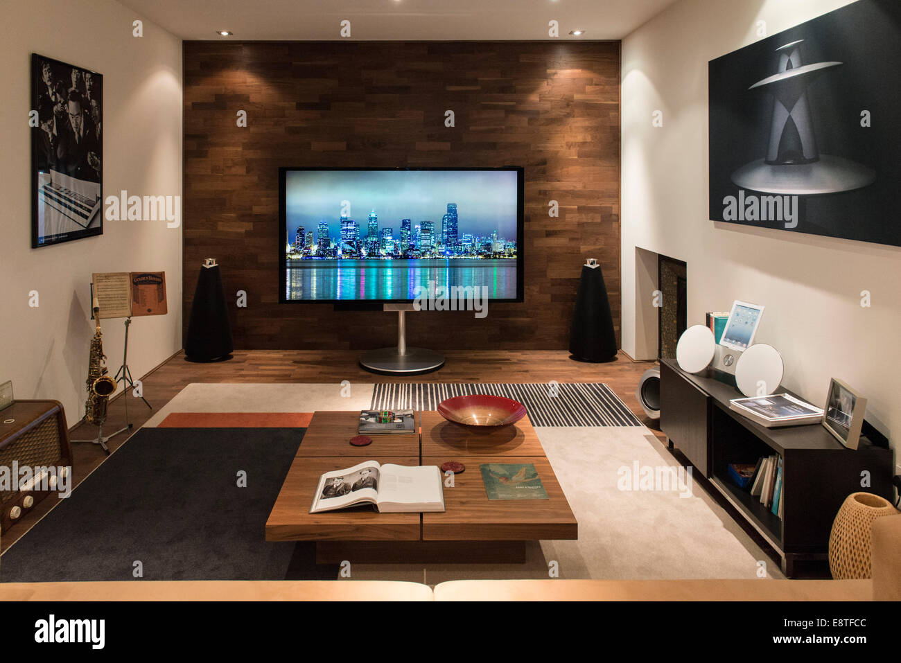 Stock Photo   Listening Room At A High End Hi Fi, Music Sound System  Technology Store All Laid Out To Be A Show Living Room With Giant TV