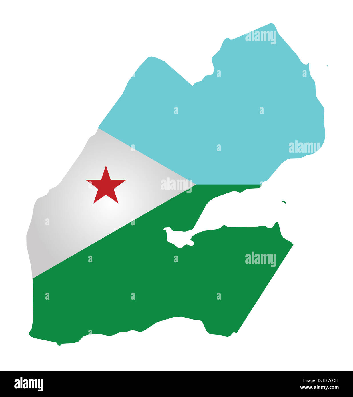 Flag Of The Republic Of Djibouti Overlaid On Outline Map Stock - Republic of djibouti map